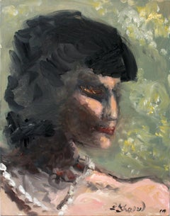 """Emotion"" Abstract Portrait Oil Painting of Woman with Pearls"