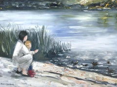 """""""Feeding the Ducks"""" Impressionistic Oil Painting on Canvas with Figures & Water"""