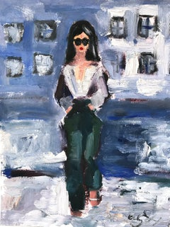 """Fierce in New York"" Figure wearing Chanel NYC Oil Painting on Paper"