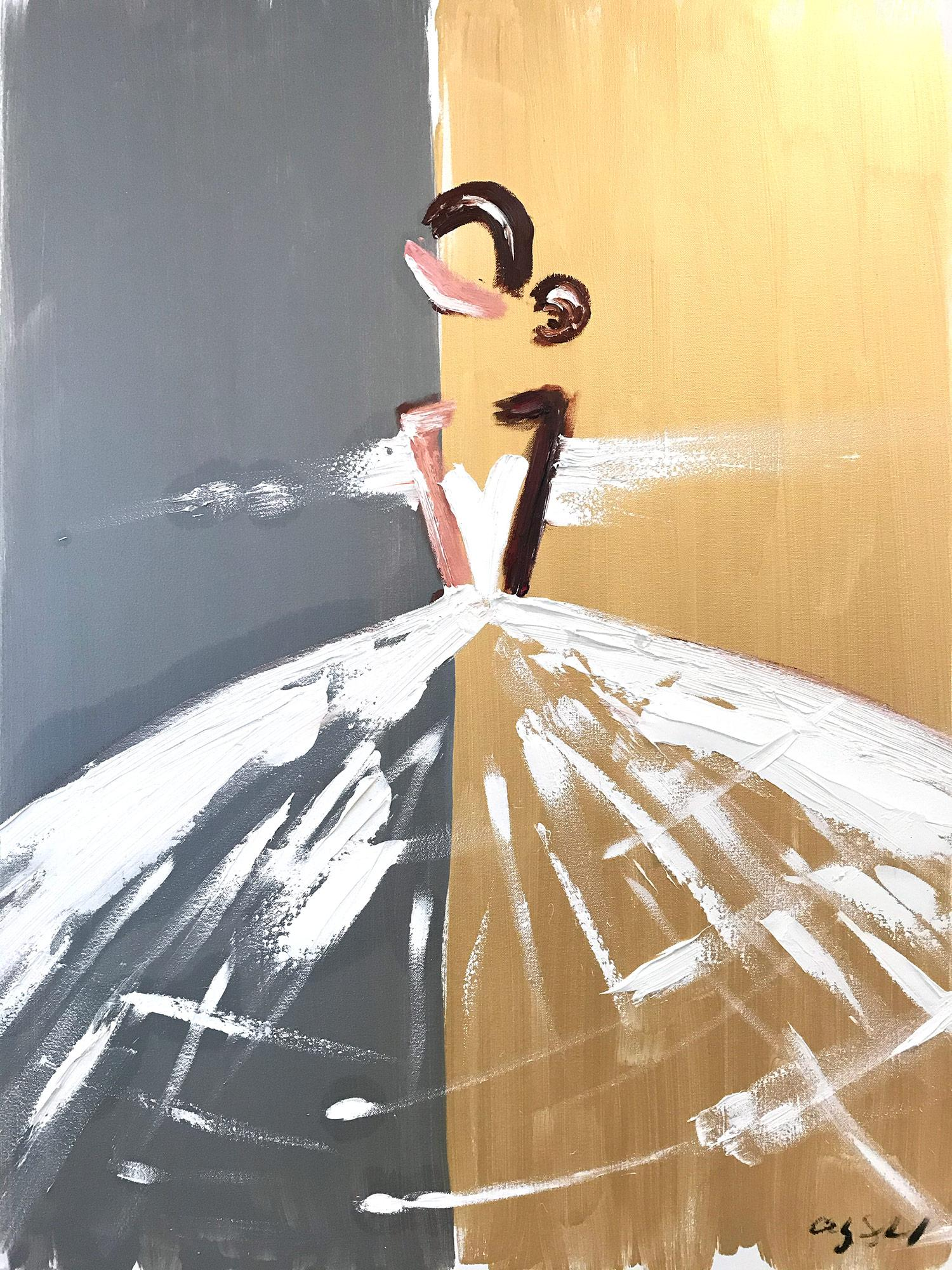 """""""Gabriella"""" Abstract Figure with Gown French Haute Couture Oil Painting Canvas"""
