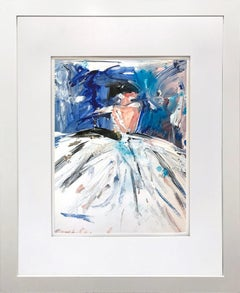 """""""Georgia"""" Abstract Figure with Gown French Haute Couture Oil Painting on Paper"""