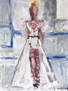 """Georgia"" Figure wearing Chanel Wedding Dress Oil Painting Paper"