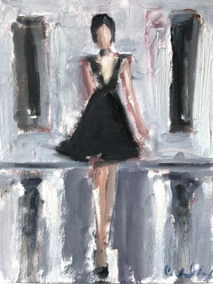 """""""Gia"""" Abstract Figure with Gown French Haute Couture Oil Painting on Paper"""