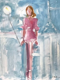 """""""Girl with a White Balloon"""" Figure wearing Chanel in Paris Oil Painting on Paper"""