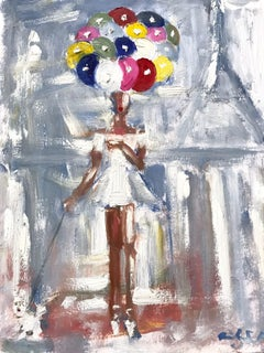 """Girl with Balloons at Twilight"" Figure Paris French Haute Couture Oil Painting"