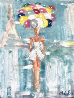 """""""Girl with Balloons"""" Figure in Paris French Haute Couture Oil Painting"""