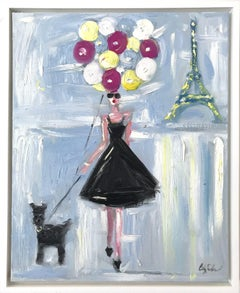"""""""Girl with Balloons"""" Figure Wearing Haute Couture Oil Painting with Dog in Paris"""