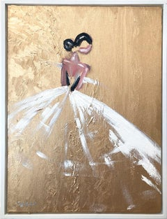 """""""Golden Hour in Paris"""" Figure & Gown French Haute Couture Oil Painting on Canvas"""