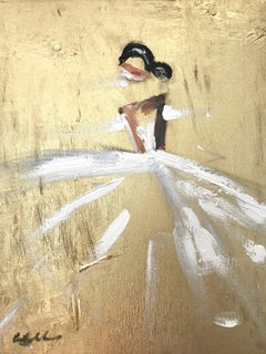 """""""Goldie"""" Abstract Figure with Gown French Haute Couture Oil Painting on Canvas"""