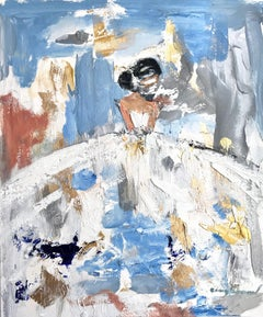 """""""Goldie"""" Abstract Figure with Gown on Paper Oil Painting"""
