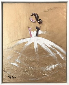 """""""Goldie"""" Figure with Chanel Gown French Haute Couture Oil Painting on Canvas"""
