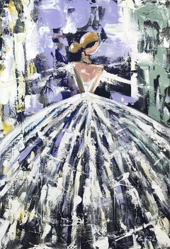 """Heidi"" Abstract Figure with Gown French Haute Couture Oil Painting on Canvas"
