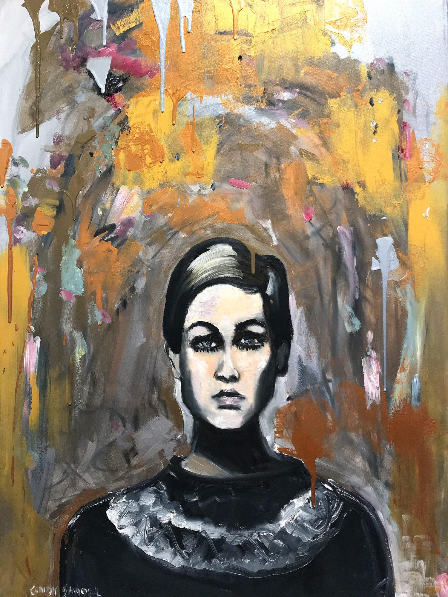 """""""Hello Twiggy"""" Contemporary Oil Painting on Canvas Portrait of Iconic Twiggy"""