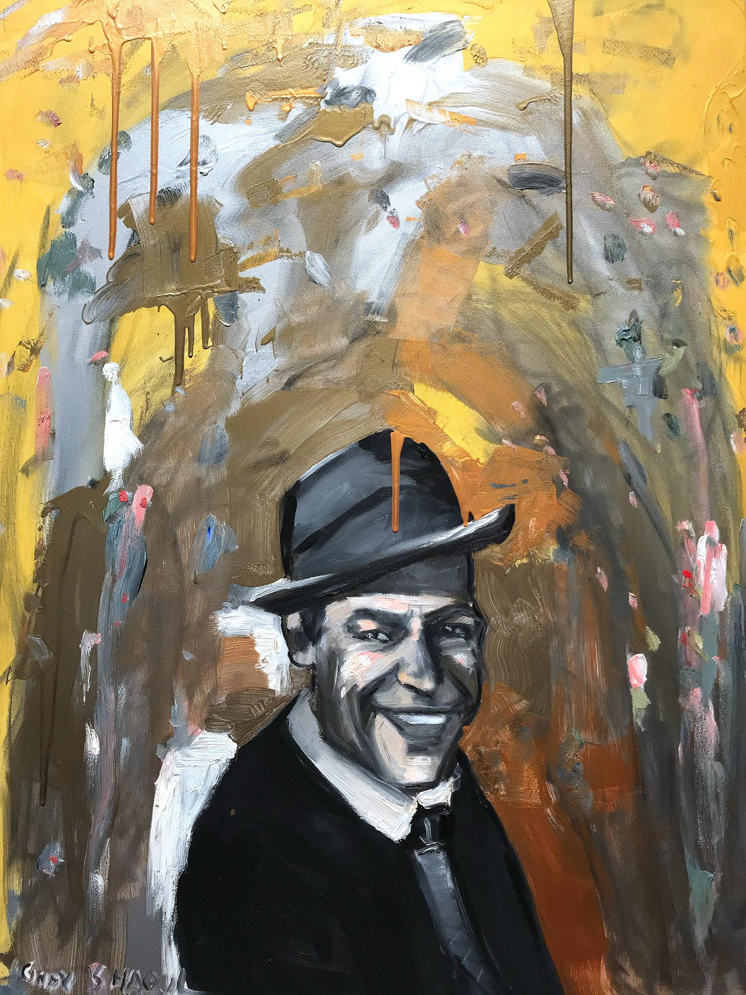 """""""Hey Sinatra"""" Abstract Oil Painting on Canvas Portrait of Iconic Frank Sinatra"""