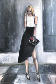 """Important Phone Call"" NYC Fashion Impressionistic Oil Painting on Canvas"