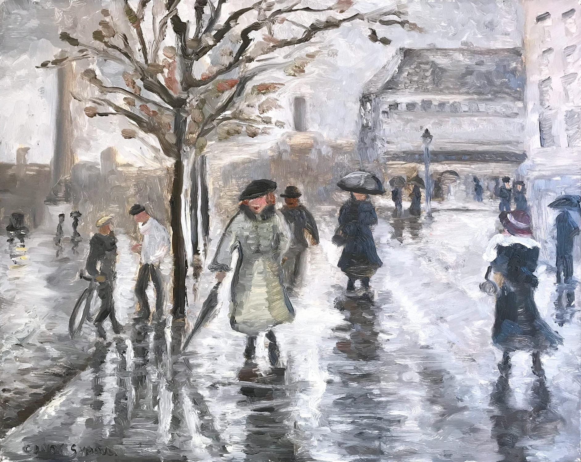 Impressionist City Street Scene with snow and figures in style of Manet