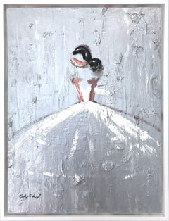 """Iridescent Bride"" Figure with Gown French Haute Couture Oil Painting on Canvas"