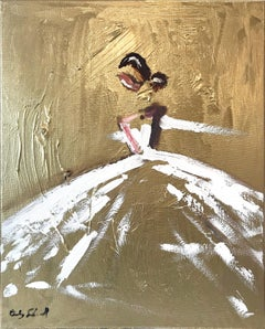 """Jade"" Abstract Figure with Gown French Haute Couture Oil Painting on Canvas"