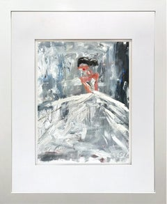 """Julliett"" Abstract Figure with Gown French Haute Couture Oil Painting on Paper"