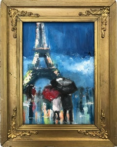 """""""Just You and Me"""" Impressionistic Oil Painting of Figures by Eiffel Tower, Paris"""