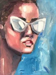 """Kate"" Portrait of Young Girl with Sunglasses Oil Painting on Paper"