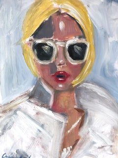 """Kendall"" Portrait of Young Girl with Sunglasses Oil Painting on Paper"
