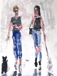 """""""Kenny and Hailey"""" NYC Haute Couture Oil Painting on Paper in Chanel and Dogs"""