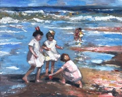 """""""Kids on the Beach"""" Colorful Impressionistic Beach Scene Oil Painting on Panel"""