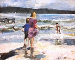 """Kids on the Sand"" Impressionistic Beach Scene Oil Painting on Canvas"