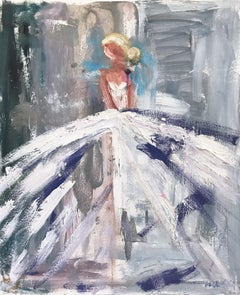 Kimberly, Abstract Blonde Figure on Paper with Gown