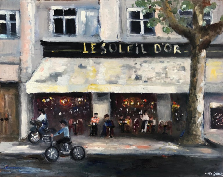 "Cindy Shaoul Landscape Painting - ""Le Soleil d'Or, Paris"" Impressionist Street Scene Oil Painting on Panel"