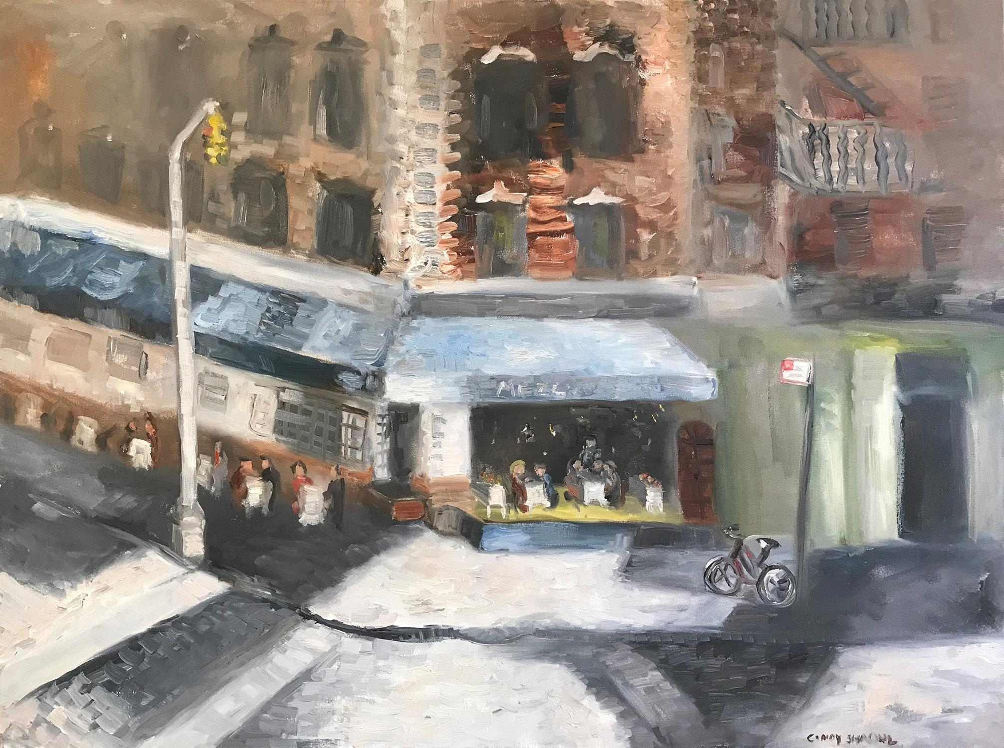 """""""Let's Do Lunch in Soho"""" Impressionist Street Scene Oil Painting on Canvas"""