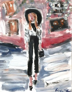 """Lili in New York"" Figure Exterior Scene of Figure Chanel Oil Painting on Paper"