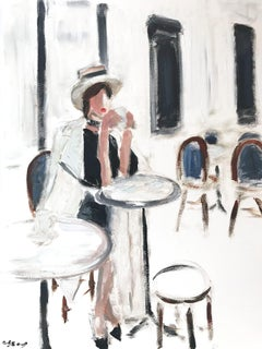 """Lily in Paris"" Figure wearing Chanel Drinking Coffee Oil Painting on Paper"