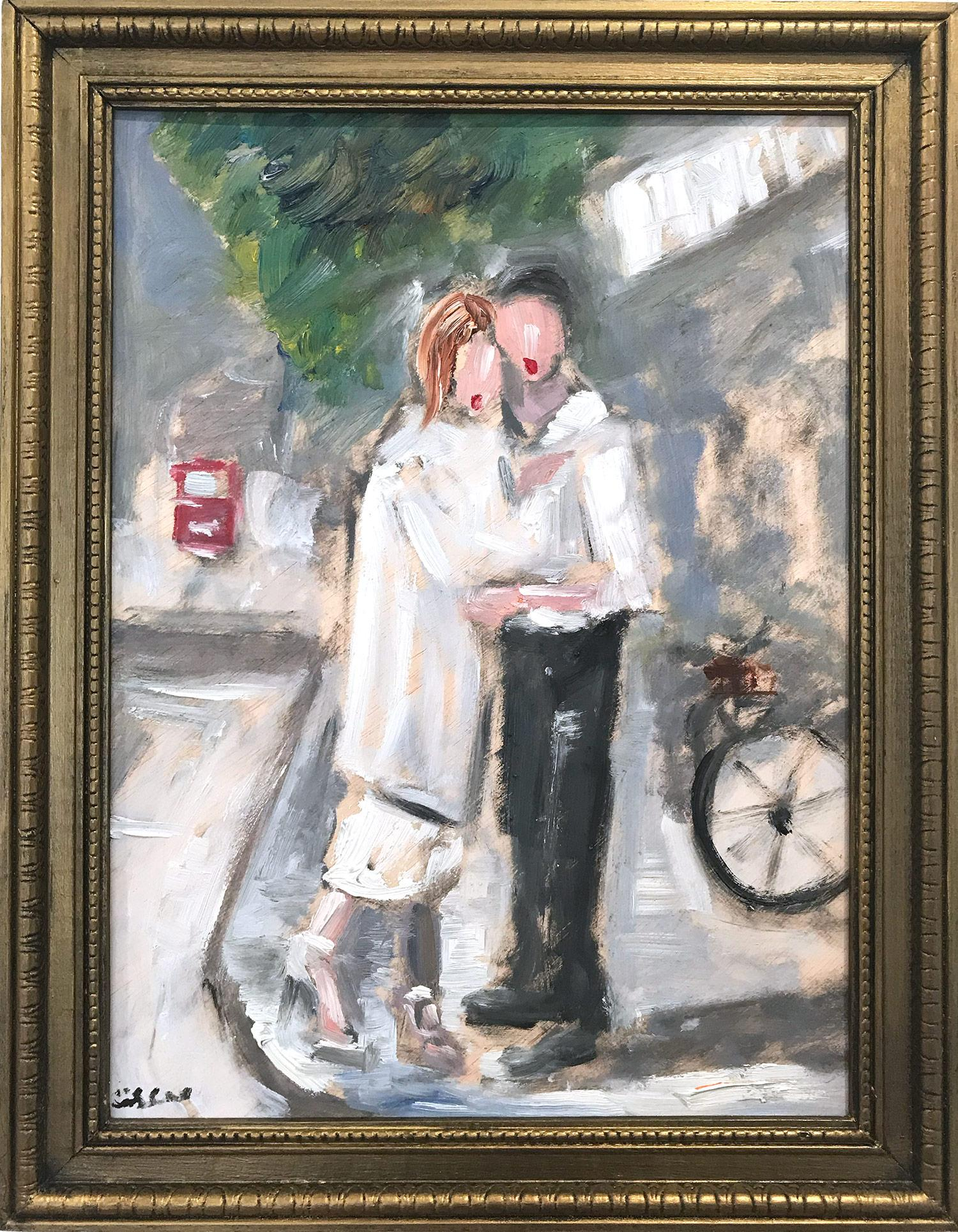"""Lovers by Champs-Élysées"" Impressionist Street Scene with Figures in Paris"