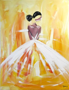 """""""Madison"""" Figure in Chanel Gown French Haute Couture Oil Painting on Canvas"""