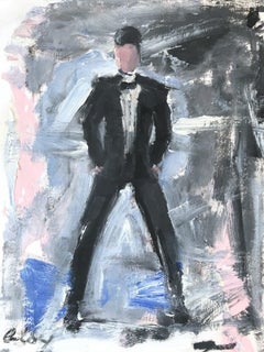 """Man in Tux"" Figure wearing Saint Laurant in London Oil Painting on Paper"