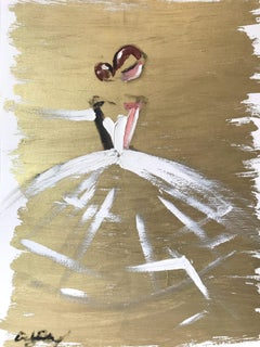 """""""Milla"""" Figure with White Gown French Haute Couture Oil Painting on Paper"""