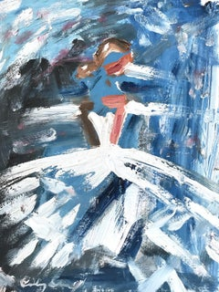 """""""Monet's Bride"""" Figure with Gown French Haute Couture Oil Painting on Paper"""