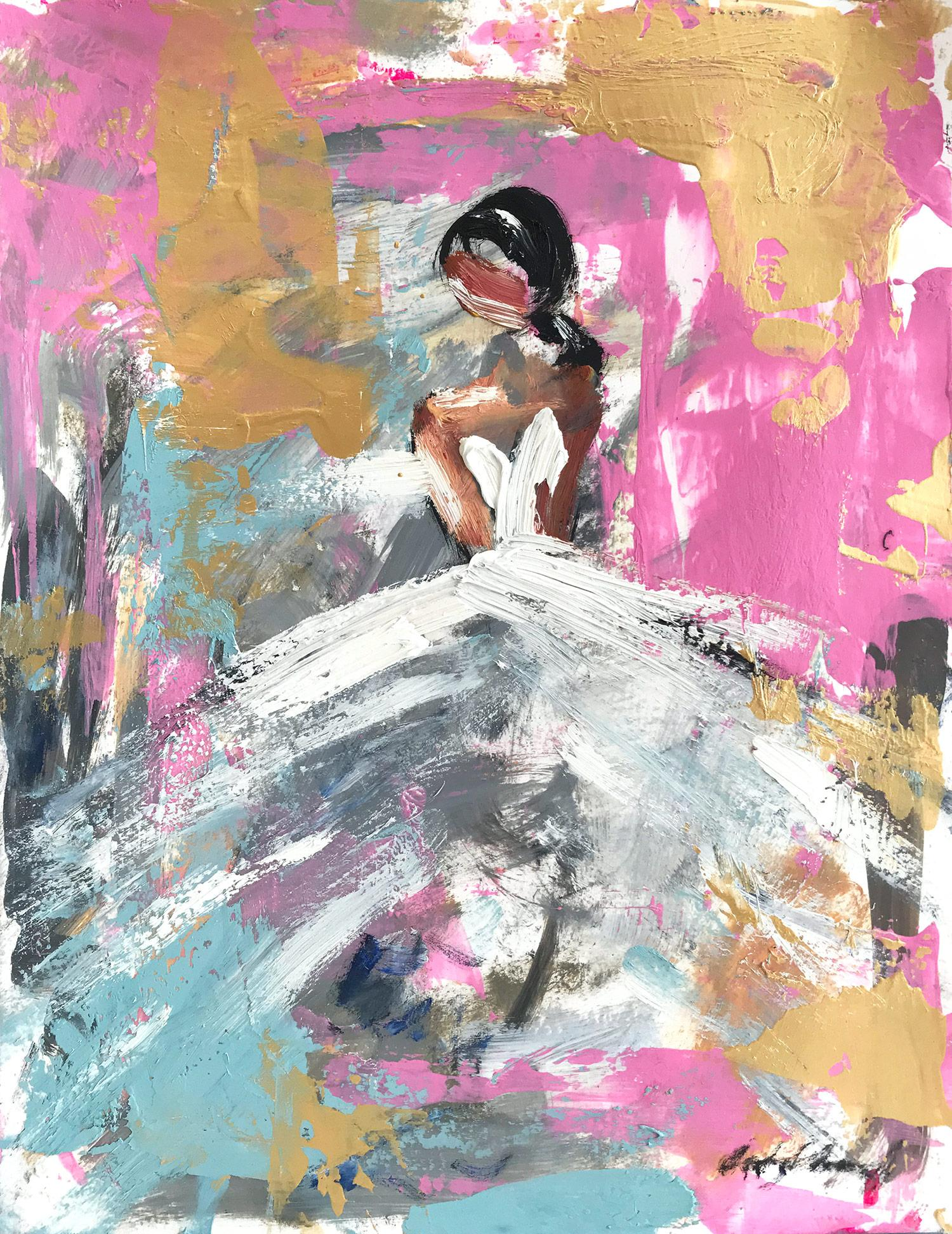 """""""Monroe"""" Abstract Figure with Gown French Haute Couture Oil Painting on Paper"""