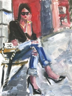 """Morning Coffee"" Abstract Figure at Cafe with Chanel NYC Oil Painting on Paper"