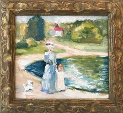 """Mother and Child by the Pond"" Impressionist Oil Painting in French Country Side"