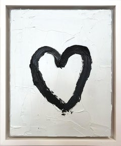 """My Black and White Heart"" Contemporary Oil Painting Framed w Floater Frame"