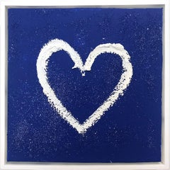"""""""My Blue Sky Heart"""" Contemporary Diamond Dust Blue and White Oil Painting"""