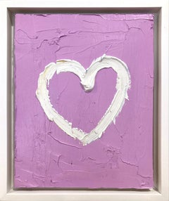 """My Bubble Gum Pink Heart"" Contemporary Oil Painting Framed with Floater Frame"