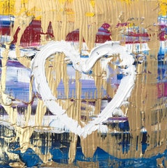 """""""My Cake Batter Heart"""" Contemporary Multicolored and Gold Oil Painting on Canvas"""