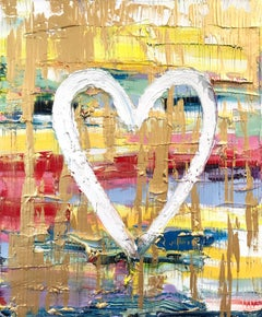 """""""My Candy Heart"""" Contemporary Multicolor Gold Oil Painting on Canvas"""