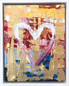 """""""My Candy Heart"""" Multicolor & Gold Contemporary Oil Painting With Floater Frame"""