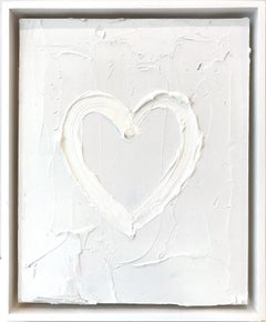 """""""My Cloud Heart"""" Contemporary Light Grey & White Oil Painting With Floater Frame"""