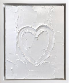 """""""My Cloud White Heart"""" Contemporary Oil Painting Framed w Floater Frame"""